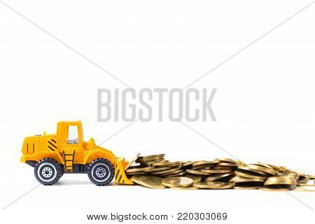 Mini Bulldozer Truck Loading Stack Coin With Pile Of Gold Coin, Isolated On White Background With Co