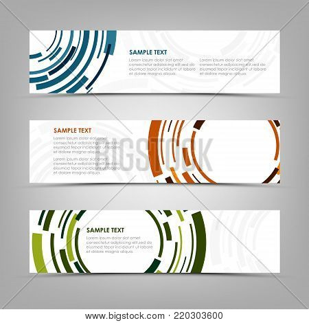 Collection banners with abstract technical color circles template vector eps 10