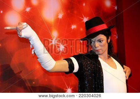 London, - United Kingdom, 08, July 2014. Madame Tussauds in London. Waxwork statue of Michael Jackson