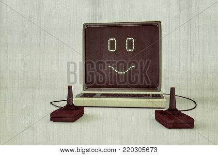 3d illustration of an old computer game isolated on white
