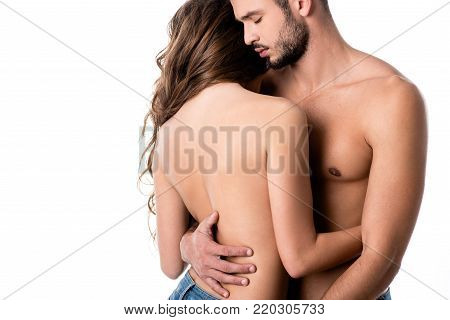 back view of sensual half naked couple hugging isolated on white