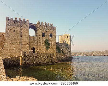 Methoni, Greece 9 August 2017. Historic castle of Methoni in Greece.