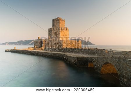 Methoni, Greece 9 August 2017. Castle of Methoni in Greece. Slow shutter used.
