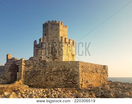 Methoni, Greece 9 August 2017. Castle of Methoni in Greece Peloponnese.