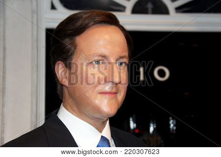 London, - United Kingdom, 08, July 2014. Madame Tussauds in London. Waxwork statue of David Cameron .