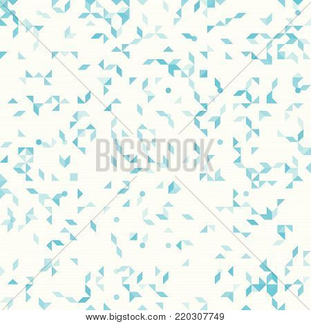 Abstract geometric pattern, small spots and dots. Colorful particles on light ivory background. Seamless vector pattern. Abstract geometric background.