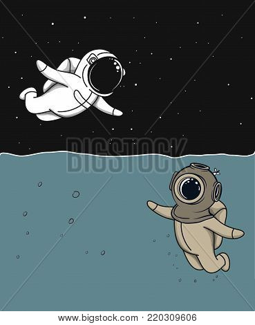 friendship of marine diver and astronaut.Vector personages.