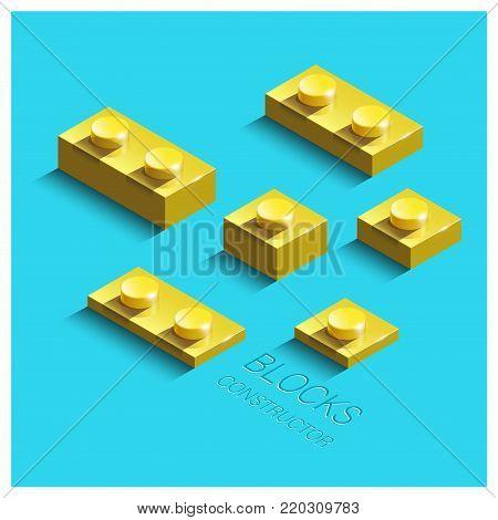 Yellow 3d building bricks element. 3d building constructor blocks