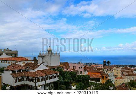 View of Orotava ville  from Plaza de la Constitucion, Constitution square in historic center of La Orotava town, Tenerife, Spain.