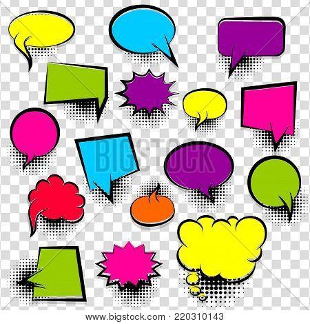 Speech bubbles halftone dot background style pop art. Colorful dialog empty cloud, space text pop-art. Colored idea conversation comics book sketch explosion. Set hand drawn blank template comic