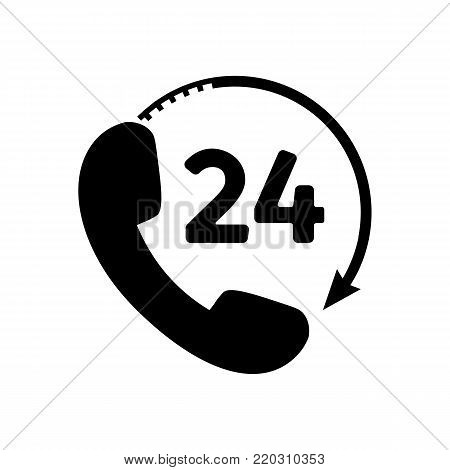 Phone 24 hours icon in trendy flat style. 24 hours customer phone service icon with arrow. 24h support symbol isolated on white background. Vector illustration.