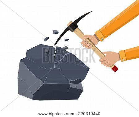 Wooden pickaxe with iron tip and rock. Miners hand tool for extracting minerals. Vector illustration in flat style