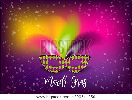 Colored confetti background. Mardi Gras - Fat Tuesday handwriting lettering carnival French-speaking country. Comic text cartoon vector illustration pop art. Realistic colored texture mask feather.