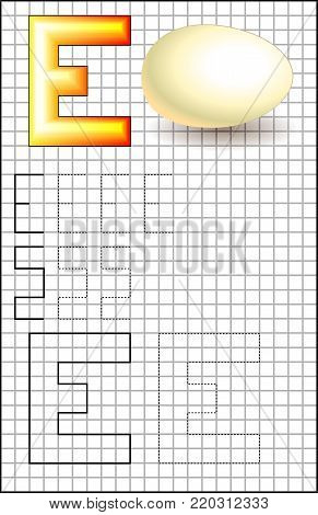 Educational page with alphabet letter E on a square paper. Developing skills for writing and drawing. Vector image.