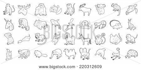 Animals icon set. Outline set of animals vector icons for web design isolated on white background