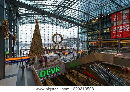 BERLIN - DECEMBER 21, 2017: Christmas tree at the Berlin Central Railway Station. The central station of Berlin is the largest and most modern railway station of Europe.