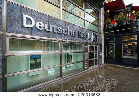 BERLIN - DECEMBER 21, 2017: Deutsche Bank office in the Kurfurstendamm. Deutsche Bank AG is a German global banking and financial services company.
