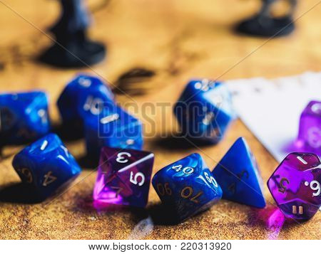 Roleplay Game With Dragons In Dungeon. Yellow Field Dice