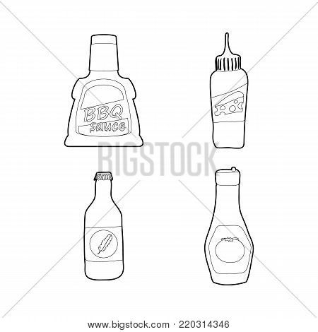 Sauce bottle icon set. Outline set of sauce bottle vector icons for web design isolated on white background