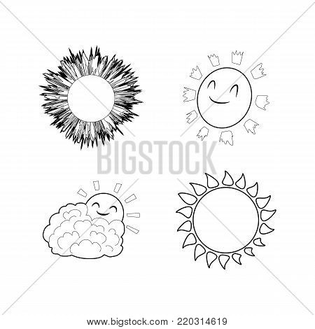 Sun icon set. Outline set of sun vector icons for web design isolated on white background