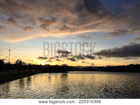 Lake Xuan Huong at sunset in Dalat, Vietnam.