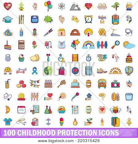 100 childhood protection icons set. Cartoon illustration of 100 childhood protection vector icons isolated on white background