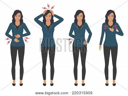 vector illustration of a sick woman with ache problems, head chest back and stomach pain