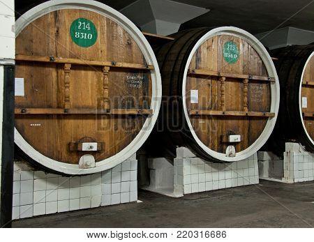 Wine In Big Wooden Barrels In Massandra Winery, Yalta, Crimea