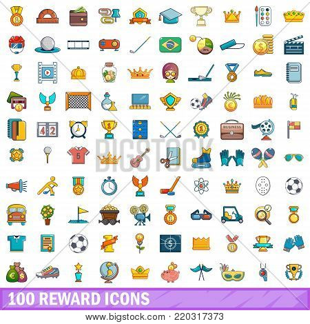100 reward icons set. Cartoon illustration of 100 reward vector icons isolated on white background