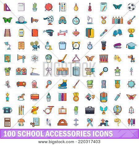 100 school accessories icons set. Cartoon illustration of 100 school accessories vector icons isolated on white background
