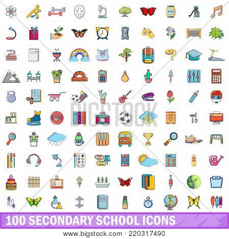 100 secondary school icons set. Cartoon illustration of 100 secondary school vector icons isolated on white background