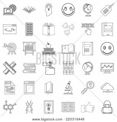 Seminar icons set. Outline style of 36 seminar vector icons for web isolated on white background