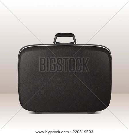 Realistic vector retro vintage leather black suitcase icon closeup. Design template, clipart or mockup for graphics, branding, advertising. Side view.