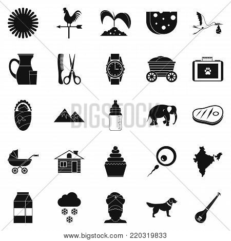 Rural economy icons set. Simple set of 25 rural economy vector icons for web isolated on white background