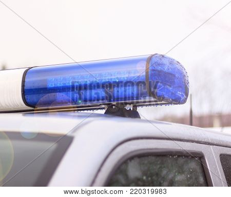 police patrol car of the State Automobile Inspection, transport inspection, carry public service, cloe up view of police roof lights, stop