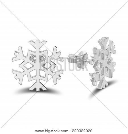 3D illustration isolated white gold or silver snowflake stud earrings with shadow on a white background