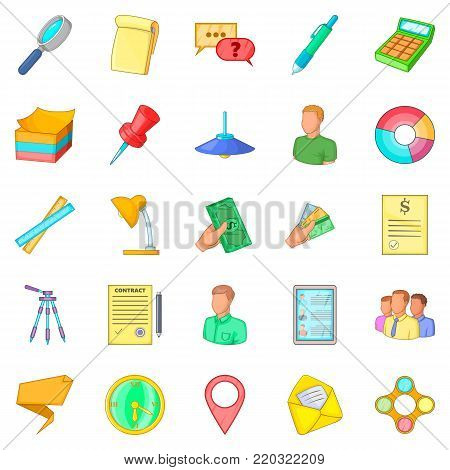Coworking space icons set. Cartoon set of 25 coworking space vector icons for web isolated on white background