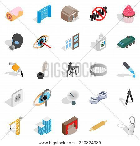 Creature icons set. Isometric set of 25 creature vector icons for web isolated on white background