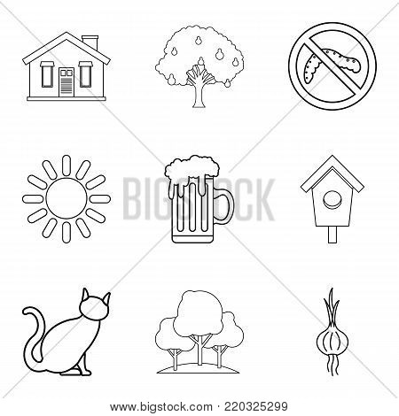 Hamlet icons set. Outline set of 9 hamlet vector icons for web isolated on white background