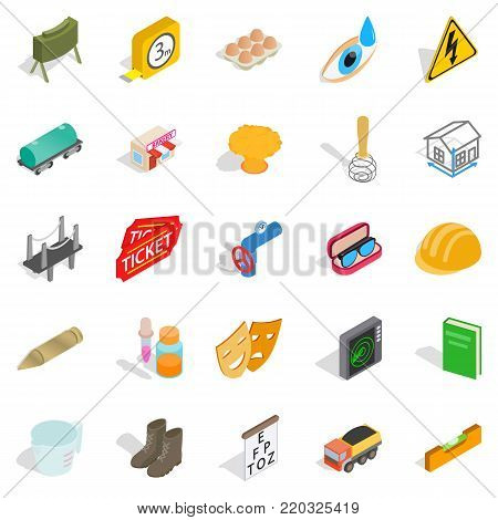 Formation icons set. Isometric set of 25 formation vector icons for web isolated on white background