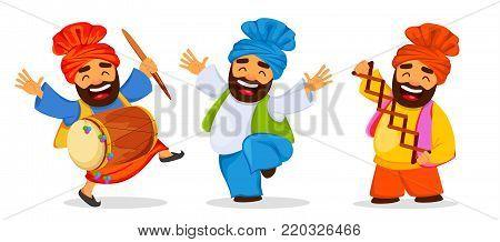 Popular winter Punjabi folk festival Lohri. Funny dancing Sikh man celebrating holiday, set of cartoon character. Vector illustration