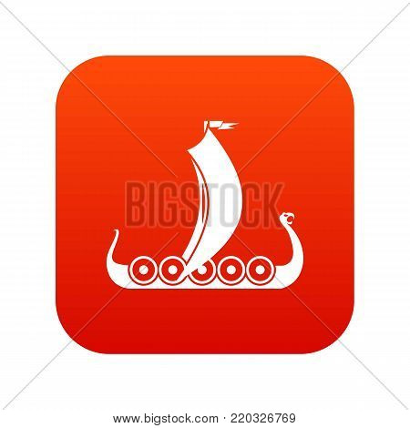 Medieval boat icon digital red for any design isolated on white vector illustration