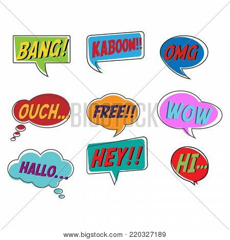 Comic style bubble speech cartoon set isolated on white background vector illustration. Pop art of bang, kaboom, OMG, ouch, free, wow, hallo, hey, hi.