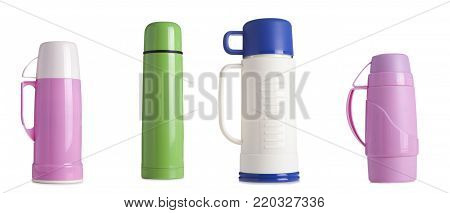 Colored Metal And Plastic Thermos Isolated On White Background,coffee Tumbler Thermos