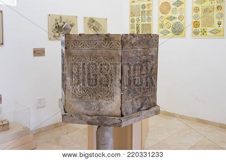 Near Kfar Adumim, Israel, November 25, 2017 : Fragment of a decorated column in The Good Samaritan Museum Near Kfar Adumim in Israel