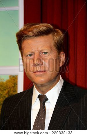 London, - United Kingdom, 08, July 2014. Madame Tussauds in London. Waxwork statue of John F. Kennedy