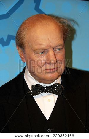 London, - United Kingdom, 08, July 2014. Madame Tussauds in London. Waxwork statue of Winston Churchill .