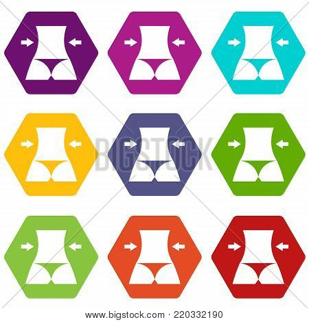 Slim body of a woman icon set many color hexahedron isolated on white vector illustration