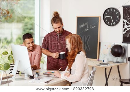 Female By The Computer