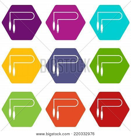 Skipping rope icon set many color hexahedron isolated on white vector illustration